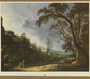 Bebost landschap met Tobias en de engel Rafael reizend naar Ekbatana (Tobias 6:2)