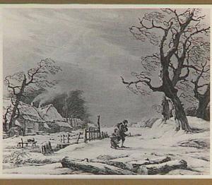 Winterlandschap met boerderij en figuren