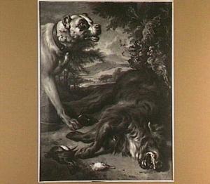 Een hond bij jachtbuit, waaronder een wild zwijn