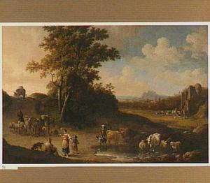 Zuidelijk landschap met herders en vee bij een ondiep water