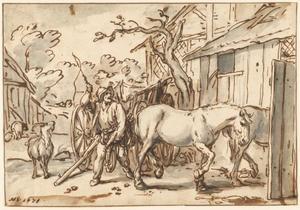 Een boer drijft zijn paarden in de stal