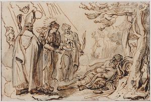 Drie heiligen verschijnen bij een slapende kluizenaar