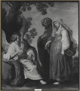 Een engel kondigt Manoach en zijn vrouw de geboorte van Simson aan (Richeren 13:2-3)