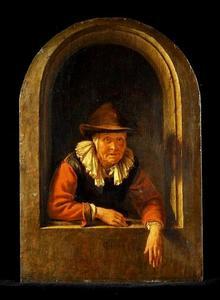 Oude vrouw in een venstger