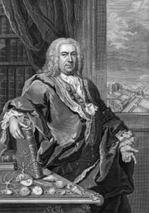 Portret van Johann Christoph Richter (1689-1751) met enkele van zijn verzamelde naturalia