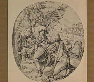 Knielende man en zegenende engel