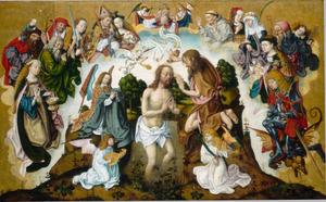 De mystieke doop van Christus met veertien heilige assistenten
