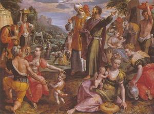 De Israëlieten verzamelen het manna in de woestijn (Exodus 16)