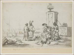 Figuren bij een fontein, een havengezicht op de achtergrond