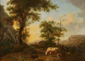 Zuidelijk landschap met herders en vee