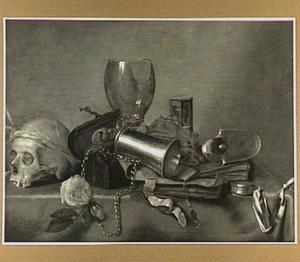 Vanitasstilleven met schedel, roos en roemer