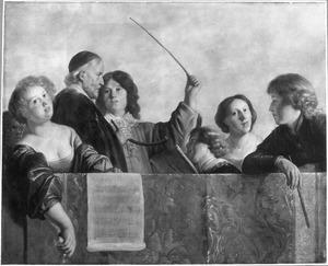 Musicerend gezelschap op een gaanderij