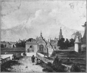Amsterdam. gezicht op de Anthonispoort met daarachter de Zuiderkerk