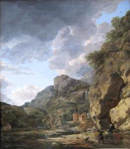 Berglandschap met een ossenkar