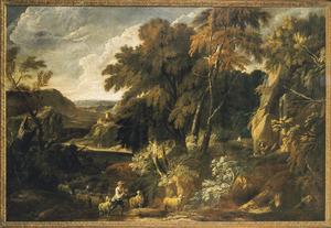 Bergachtig boslandschap met een herder en schapen