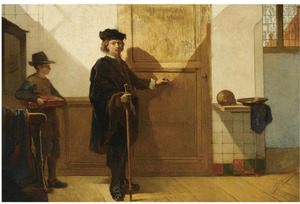 Rembrandt op weg naar de anatomische les van dr. Tulp