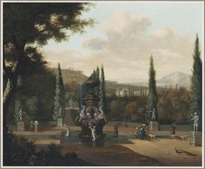 Zuidelijk landschap met elegante figuren in een tuin, in de verte een landhuis