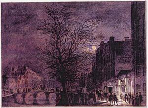 De Keizersgracht in Amsterdam met rechts de toegang tot het Amsterdams Theater, bij nacht