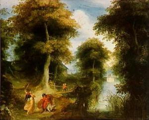 Rivierlandschap met Bileams ezelin, die neerbuigt voor de engel. Bileam ziet niets en ranselt het dier vergeefs tot voortgaan (Numeri 22:22-24)