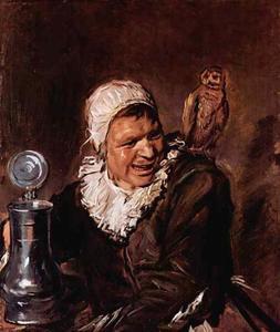 Drinkende vrouw met een uil op haar schouder