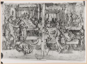 De maaltijd van Belsassar, waarop het tempelgerei ontheilgd wordt  (Daniel 5:1-4)