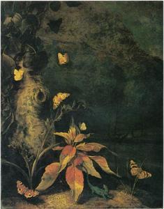 Planten, reptielen en vlinders aan de voet van een boom
