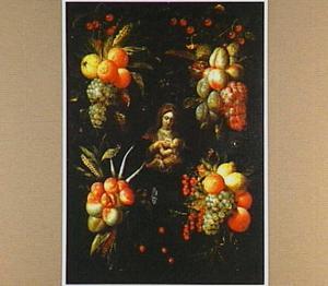 Vruchten rond een stenen cartouche met daarin een voorstelling van Maria Lactans