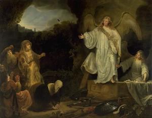 De engel verschijnt aan de drie Maria's bij het lege graf (Lucas 24:1-7)