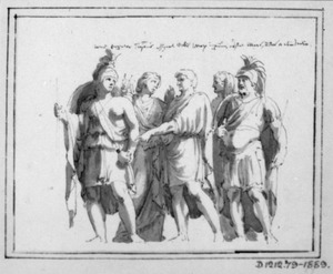 Staande Romeinse soldaten en andere figuren