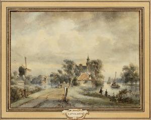 Hollands rivierlandschap met twee molens en een kerk