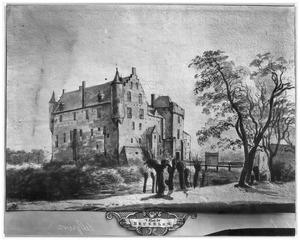 Kasteel Heukelum voor de verwoesting in 1672, vanuit het noordwesten