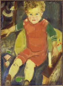 Zittend jongetje met speelgoed