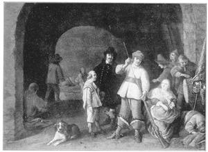 Gezelschap van een officier, een jonge vrouw met kind en een soldaat die zijn musket schoonmaakt