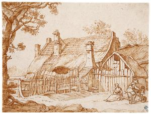 Boerderij met twee figuren op de voorgrond