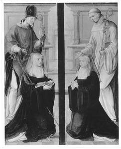 Heilige bisschop met stichtster (links); Heilige monnik met stichtster (rechts)
