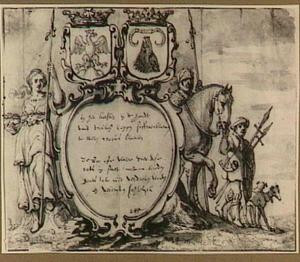 Cartouche bekroond met twee wapenschilden