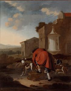 Zuidelijk landschap met een jager met honden