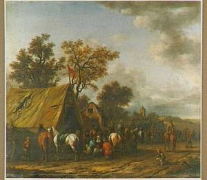 Paarden, ruiters en boeren bij een tent