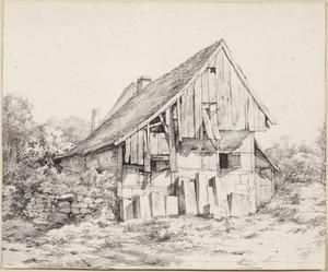 Een vervallen gebouw in de steengroeve in Bentheim