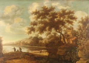 Landschap met vissers en een ruïne