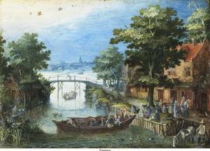 Rivierlandschap met boot bij een aanlegplaats