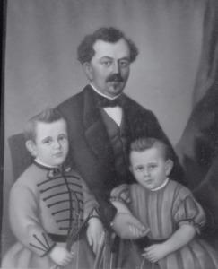 Portret van Abraham Nederburgh (1826-1903) en zijn zoontjes