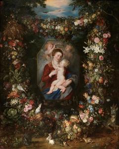 Madonna met Kind in een bloemenkrans
