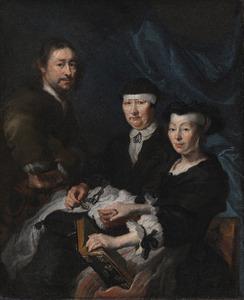 Zelfportret met zijn vrouw Maria Fern en zijn moeder Cornelia Rooswijck
