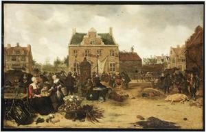 Marktdag op een stadsplein