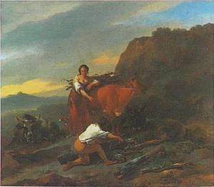 Zuidelijk landschap met sprokkelende herders