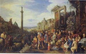 De aanbidding der koningen tegen de achtergrond van Rome