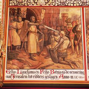 Eelko Liauckama en Feiko Botnia na de verovering van Jerusalem tot ridders geslagen