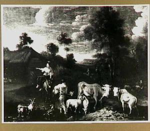 Landschap met door water wadend vee, daarbij een herderin met hond en een herderin op een muilezel
