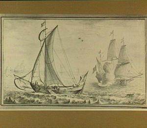 Schip dat een saluutschot afvuurt en andere vaartuigen voor de kust